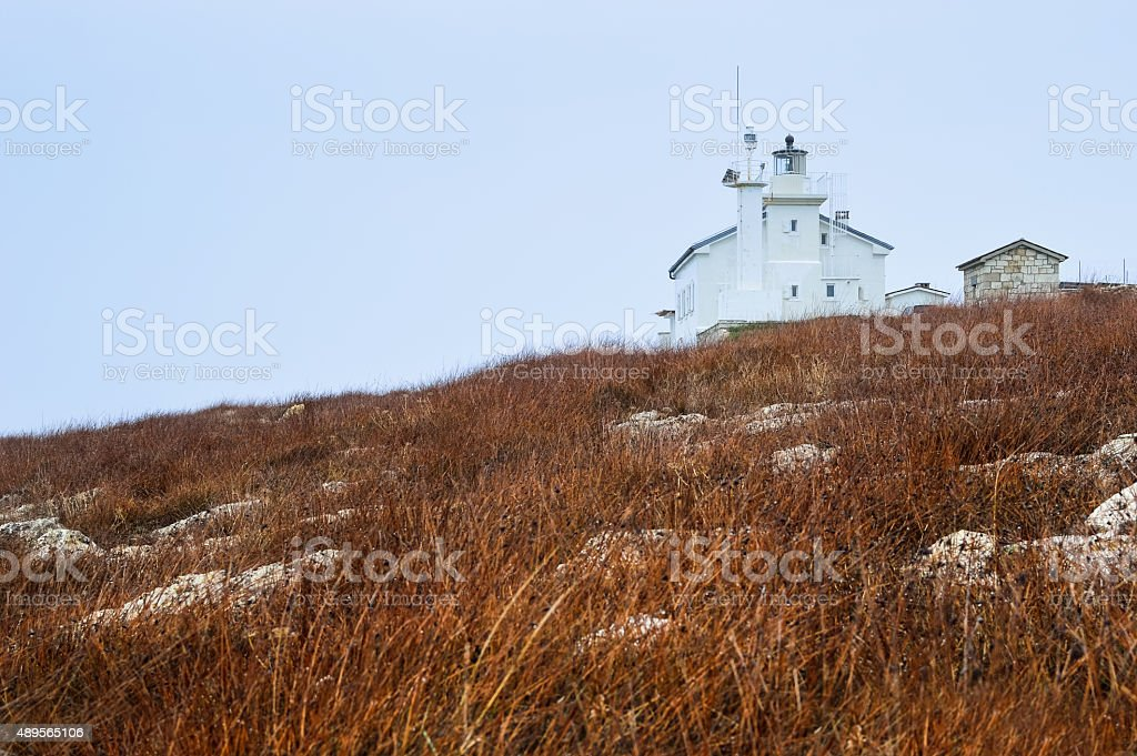 Lighthouse on the sea in Istria in Liznjan stock photo