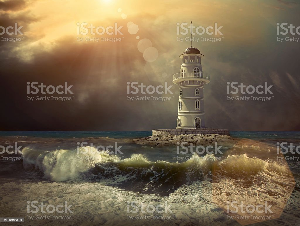 Lighthouse on the sea under sky stock photo