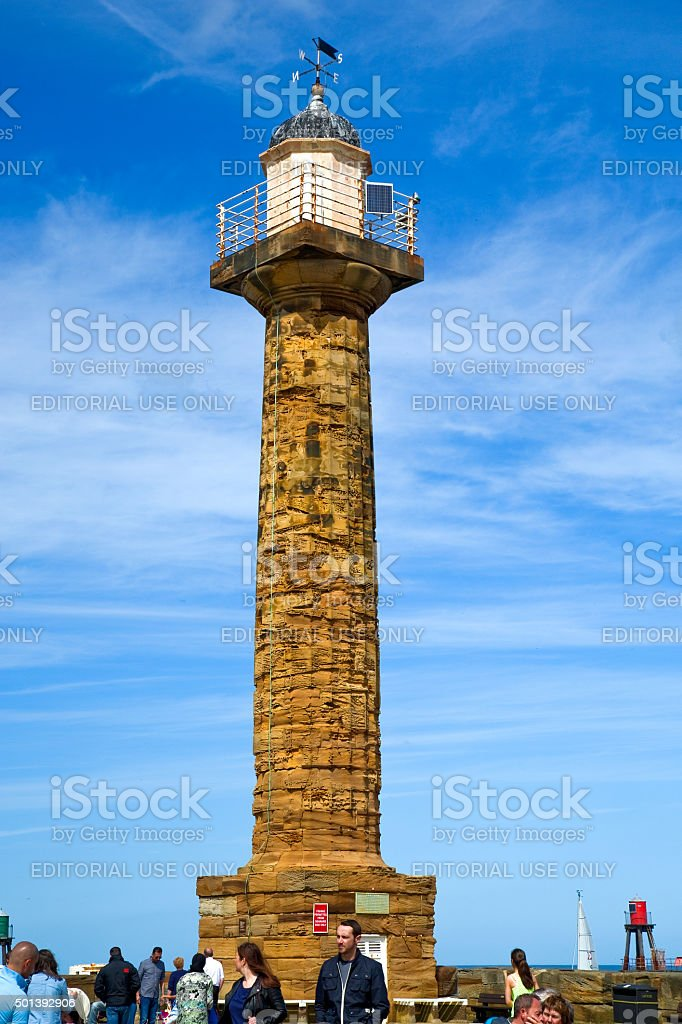 Lighthouse on Whitby pier royalty-free stock photo