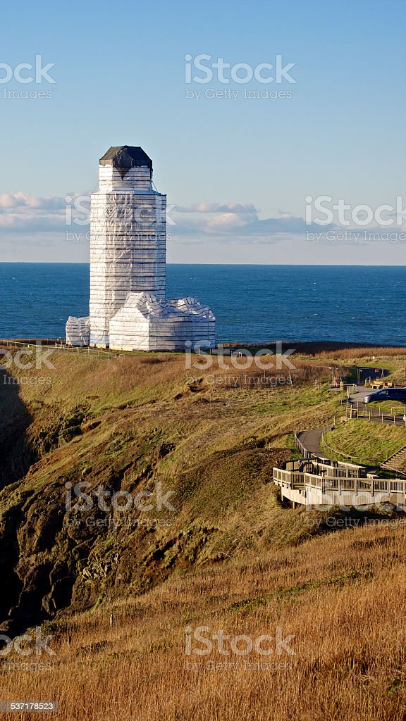 Lighthouse Oregon Yaquina Head Covered Renovation Preservation Pacific Ocean stock photo