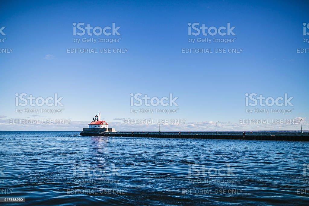 Duluth, MN, USA - October 13, 2015: Lighthouse overlooking stock photo