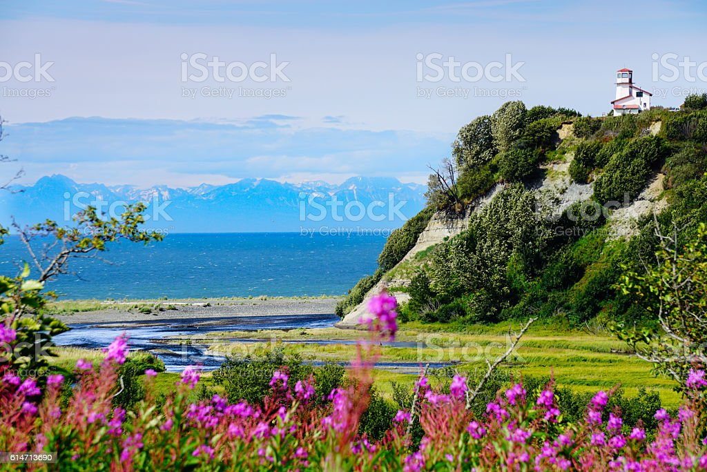 Lighthouse overlooking the Kenai Coast stock photo