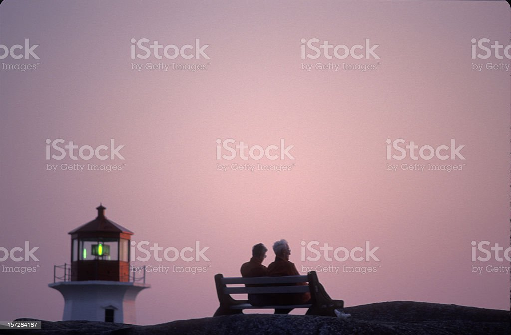 Lighthouse - Peggy's Cove at dusk royalty-free stock photo