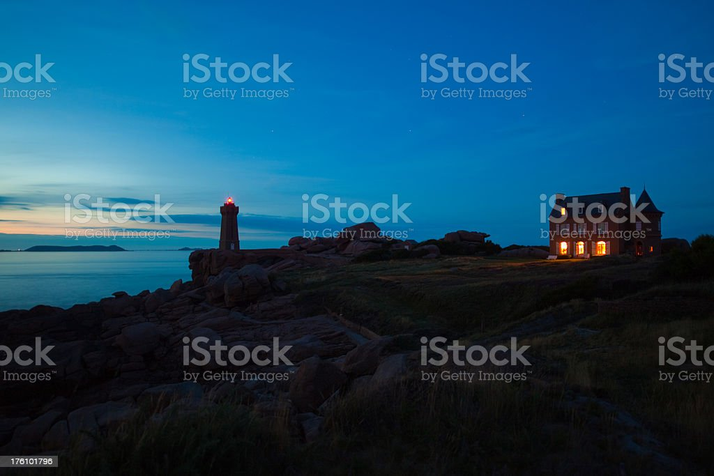 Lighthouse Perros-Guirec at Night stock photo