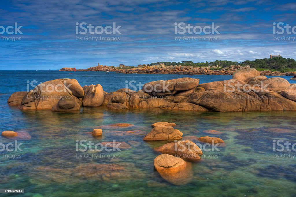 Lighthouse Perros-Guirec from Tregastel HDR stock photo