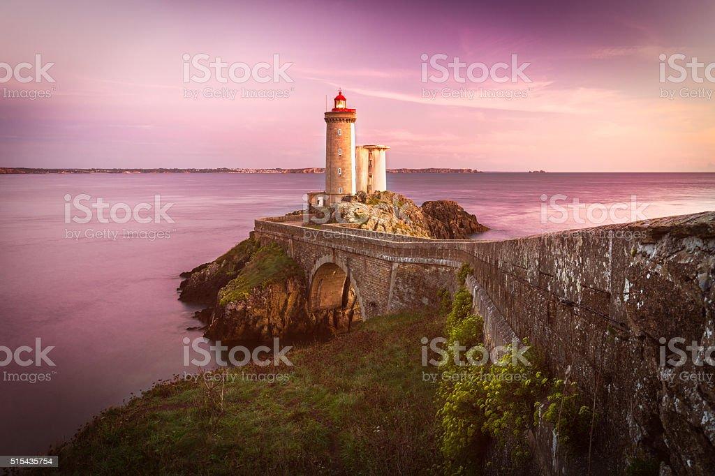 Lighthouse Phare du Petit Minou at sunset, Brittany, France stock photo