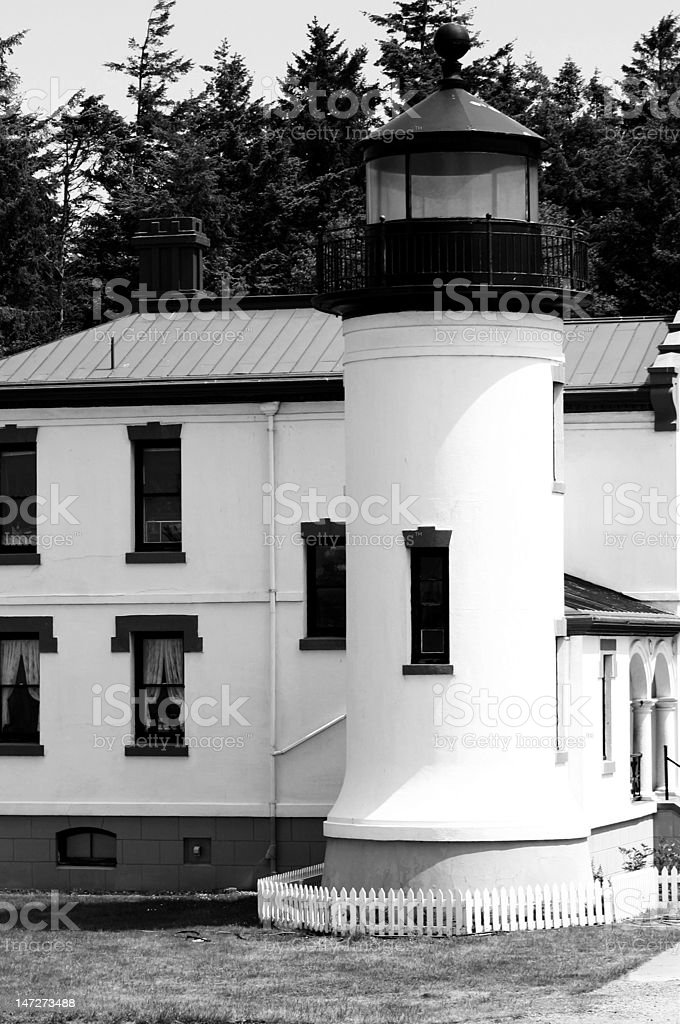 Lighthouse (black and white) royalty-free stock photo
