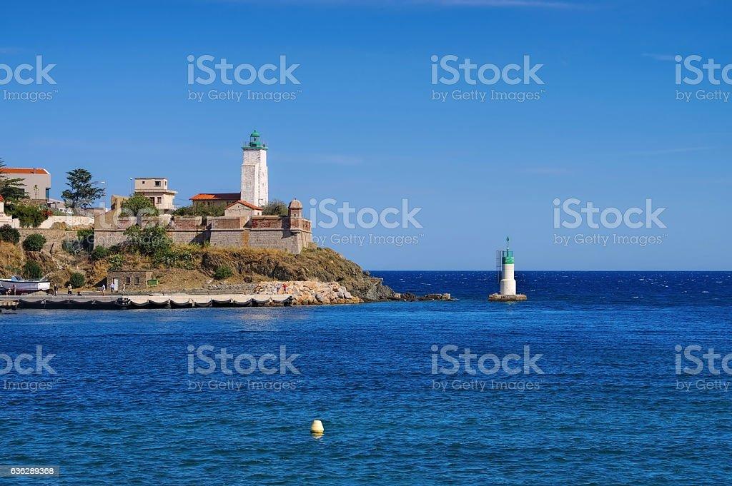 lighthouse Port-Vendres,Cote Vermeille stock photo