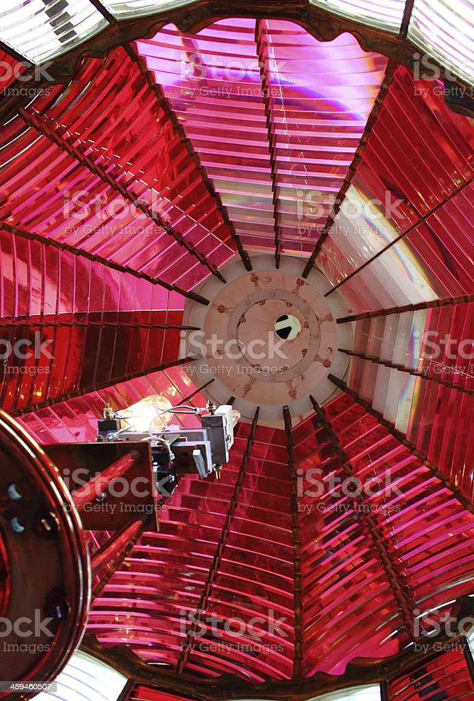 Lighthouse Red and White Fresnel Lens stock photo
