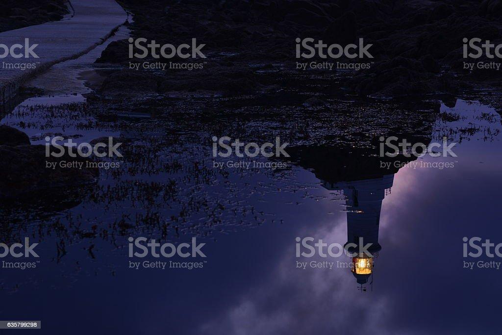 Lighthouse reflectin, Jersey, U.K. stock photo
