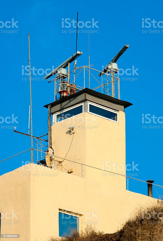 Lighthouse. Sea coast radar tower. stock photo