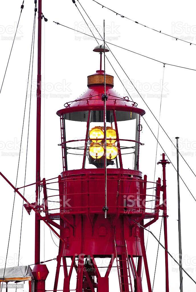 lighthouse ship in harbor royalty-free stock photo