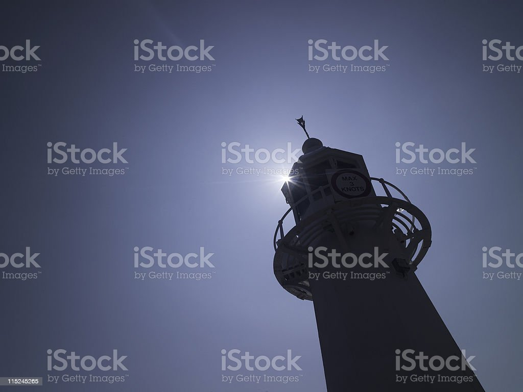 Lighthouse Silhouette - Mevagissey, Cornwall royalty-free stock photo