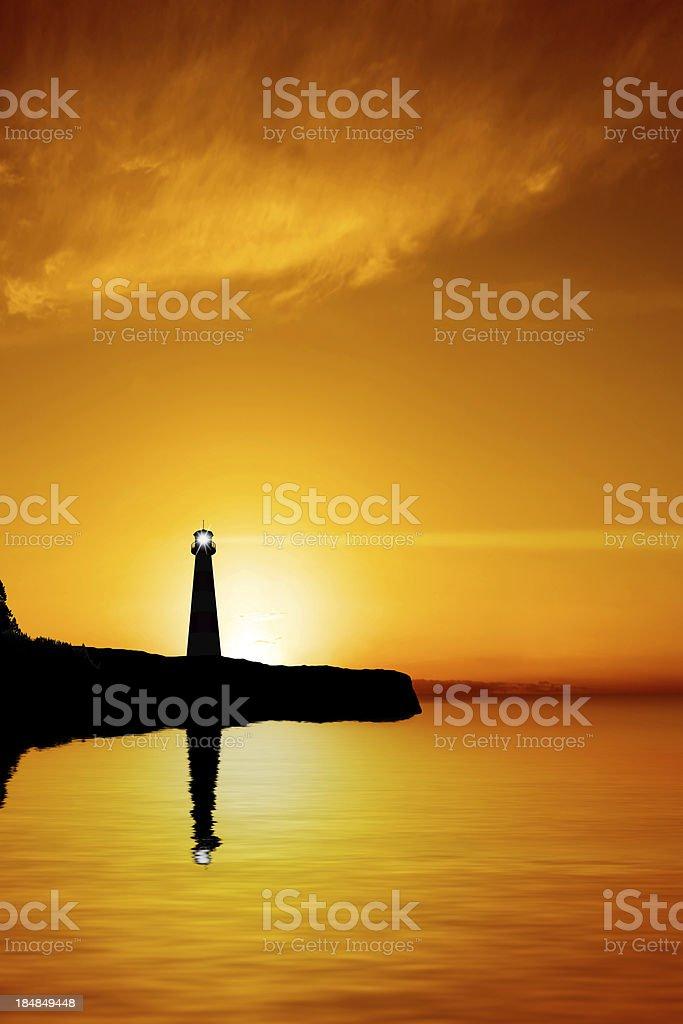 XXXL lighthouse silhouette stock photo