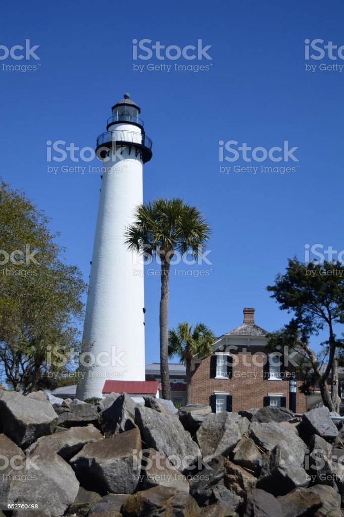 Lighthouse St. Simons Island GA stock photo
