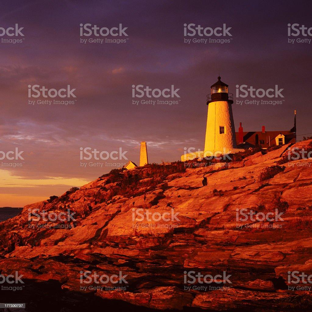 Lighthouse Sunrise Pemaquid Point Main stock photo