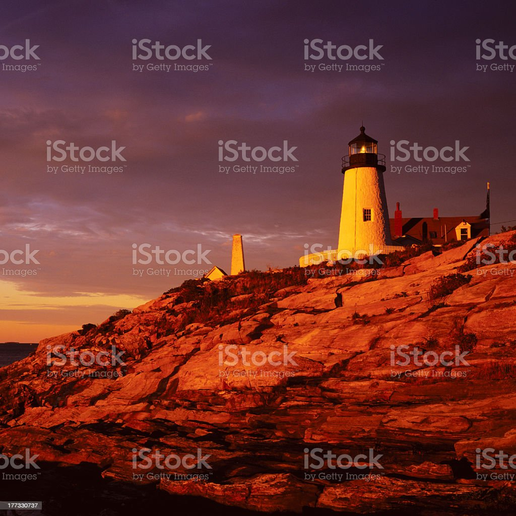 Lighthouse Sunrise Pemaquid Point Main stock photo