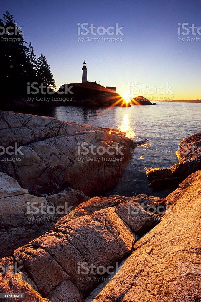 Lighthouse Sunrise royalty-free stock photo