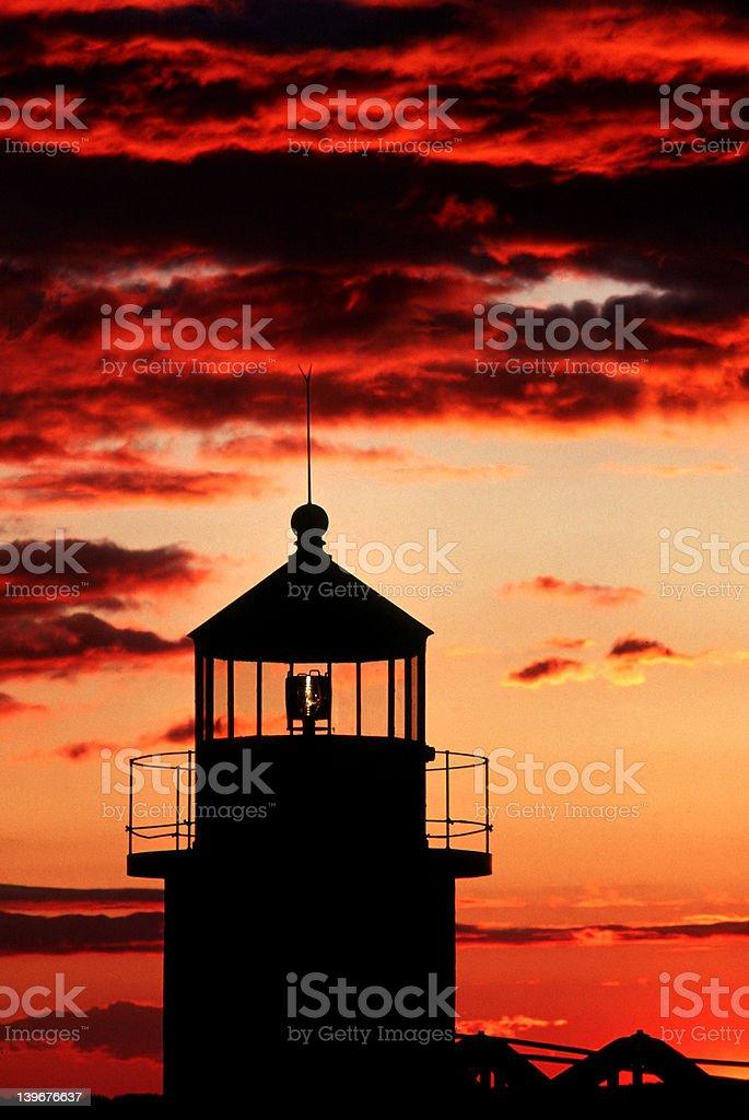 Lighthouse & Sunset royalty-free stock photo