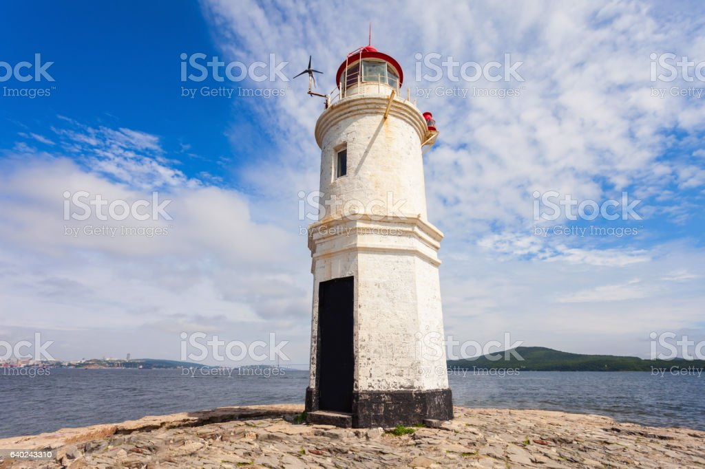 Lighthouse Tokarevskiy Egersheld, Vladivostok stock photo