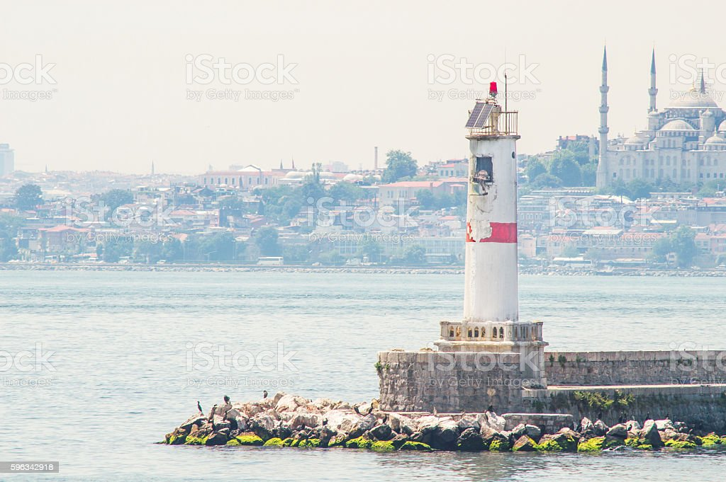 Lighthouse with Istanbul View stock photo