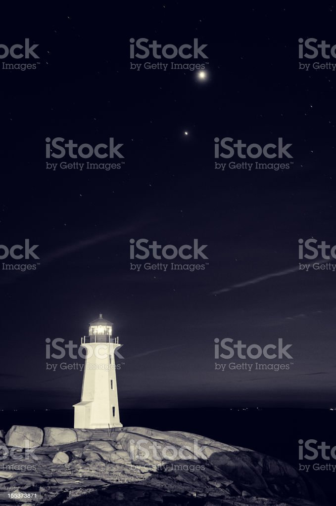 Lighthouse with Planets stock photo