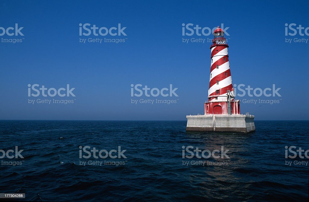 Lighthouse with Red & White Stripes stock photo