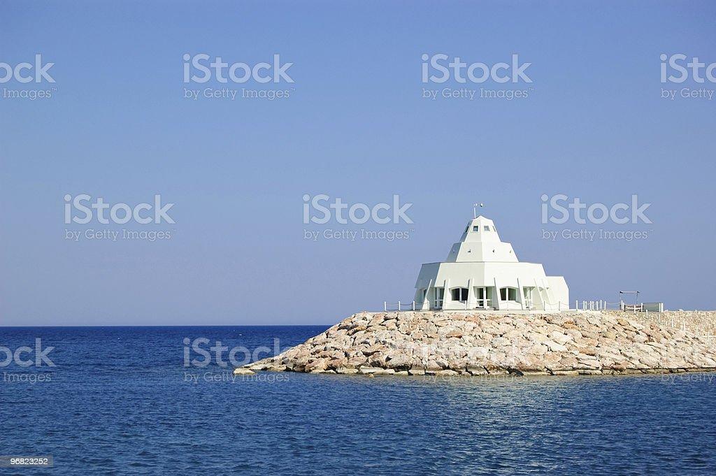 Lighthouse with restaurant, Antalya, Turkey royalty-free stock photo