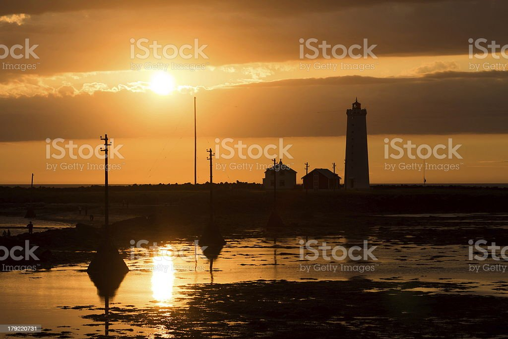 lighthouse with sunset royalty-free stock photo