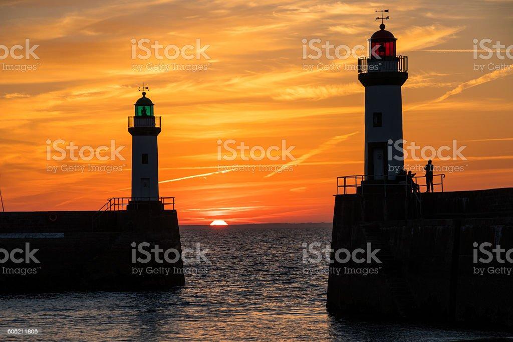 Lighthouses at Dawn in Belle-Ile-En-Mer, Bretagne stock photo