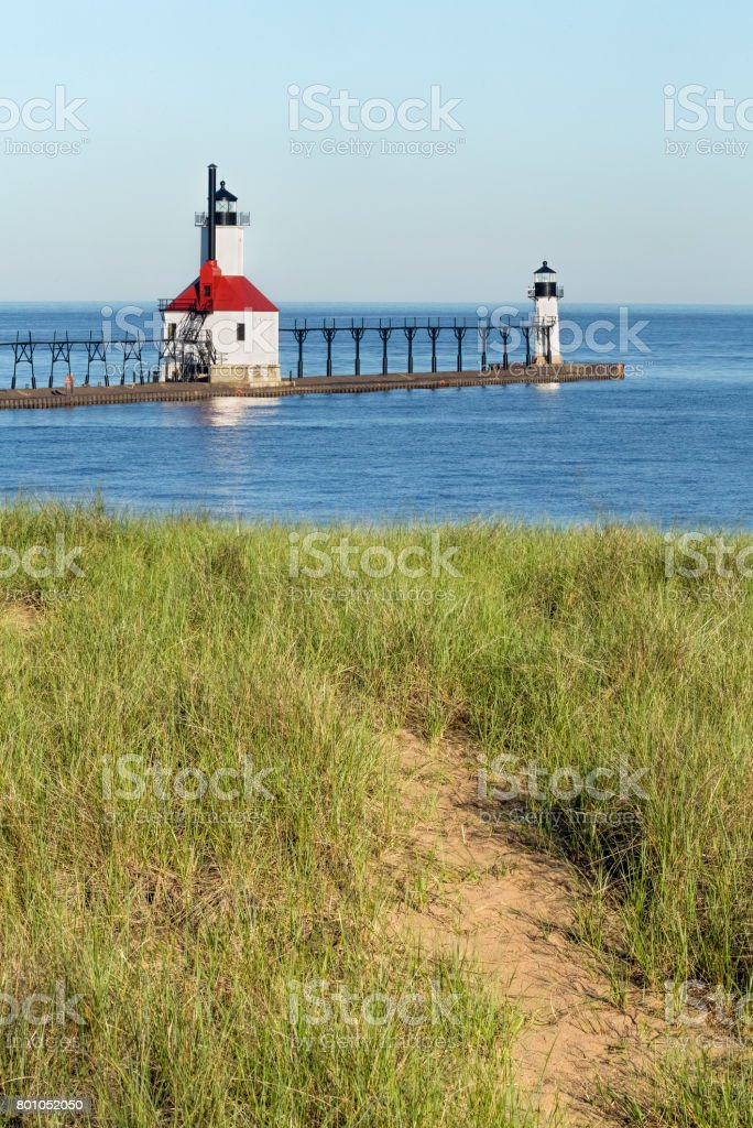 Lighthouses from the Dunes stock photo