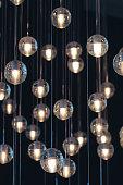 lighting balls on the chandelier in the lamplight