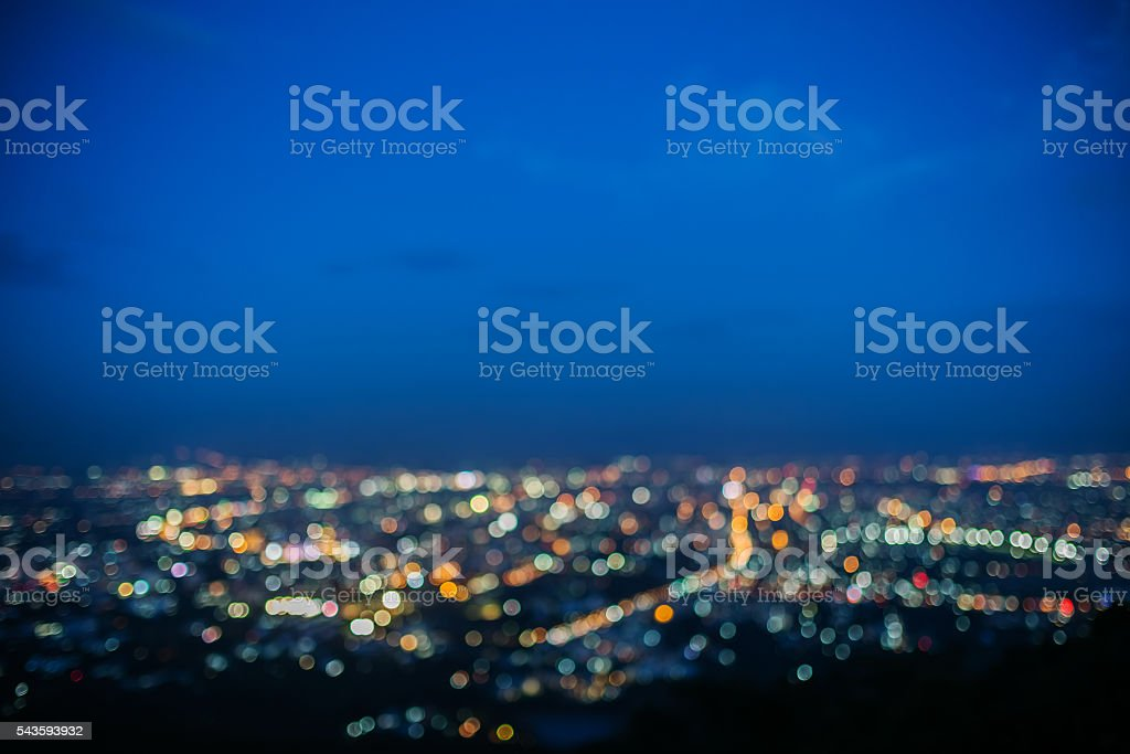Lighting bokeh top view of Chiang Mai, Thailand stock photo