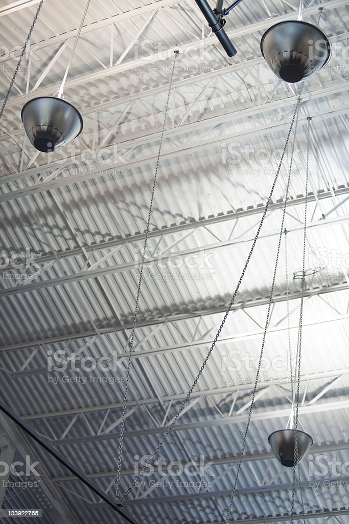 Lighting bulbs under the steel ceiling royalty-free stock photo