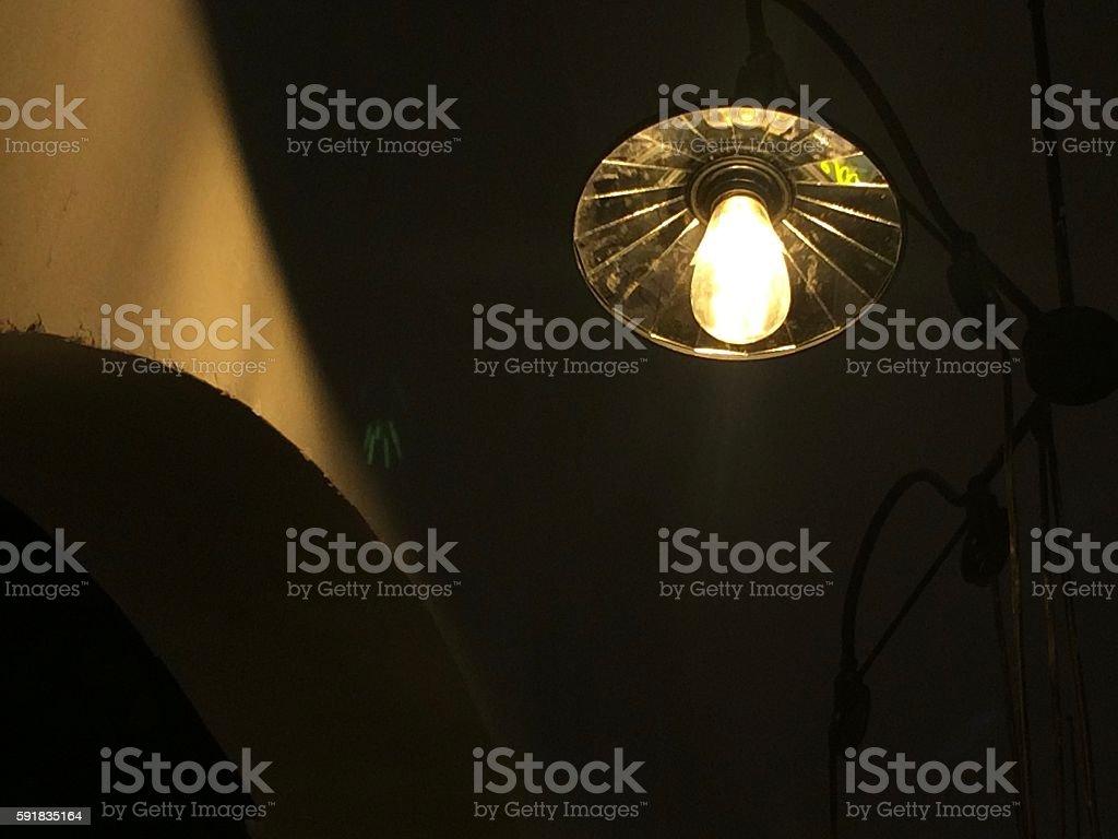 Lighting decor in coffee shop stock photo
