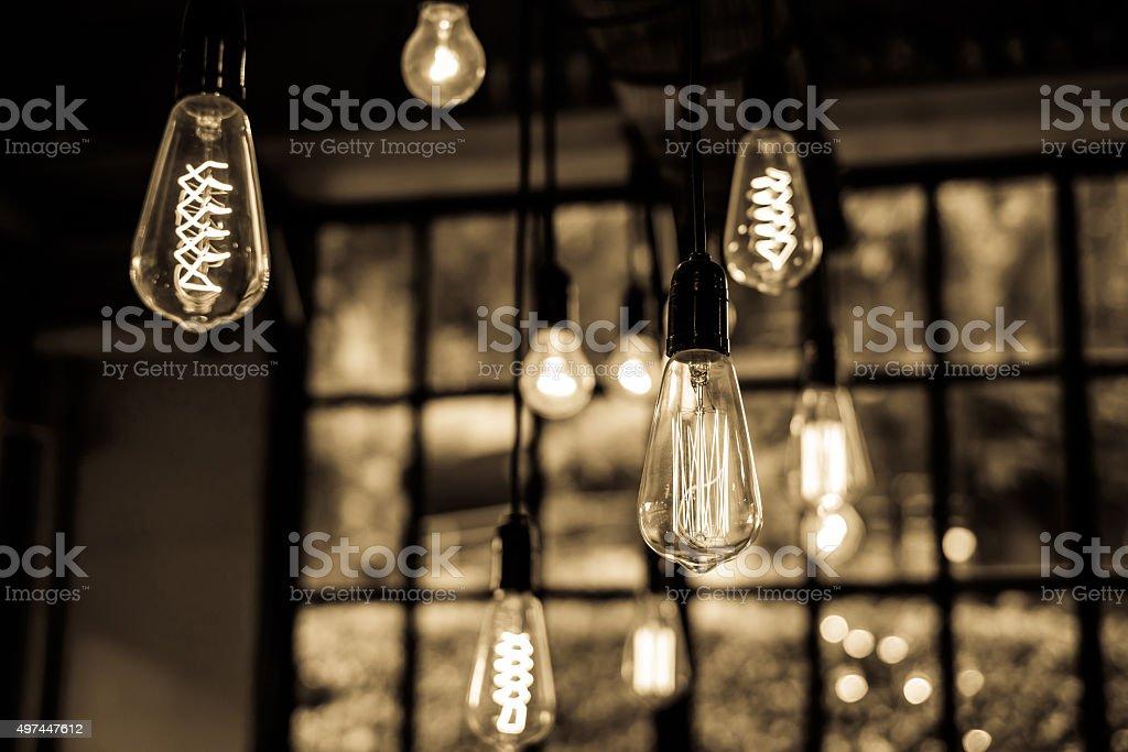 Lighting decor in restaurant for background stock photo