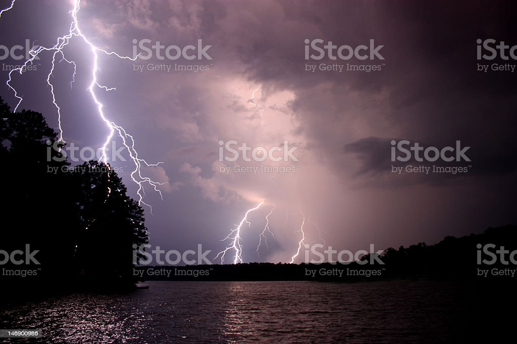 Lighting during a Thunderstorm stock photo