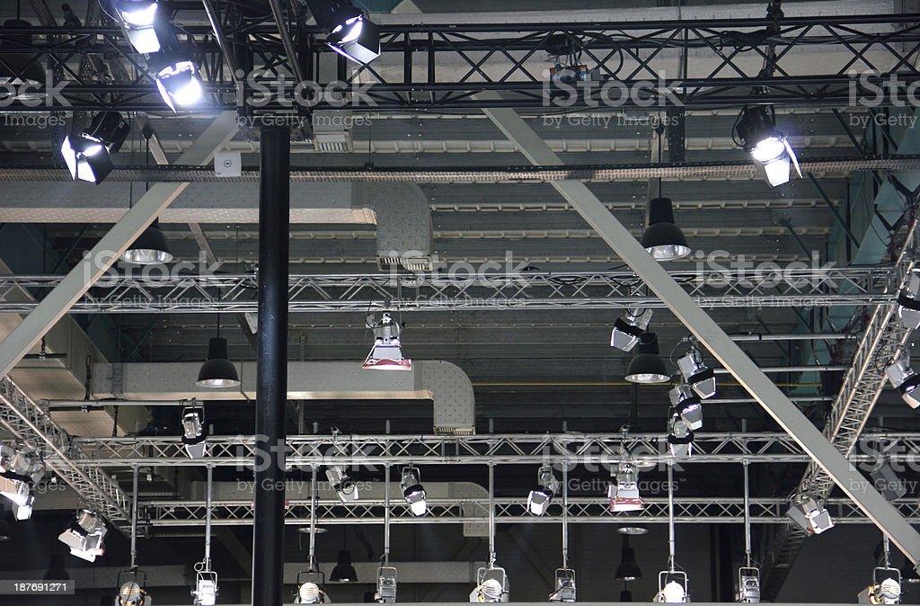 Lighting equipment under roof stock photo