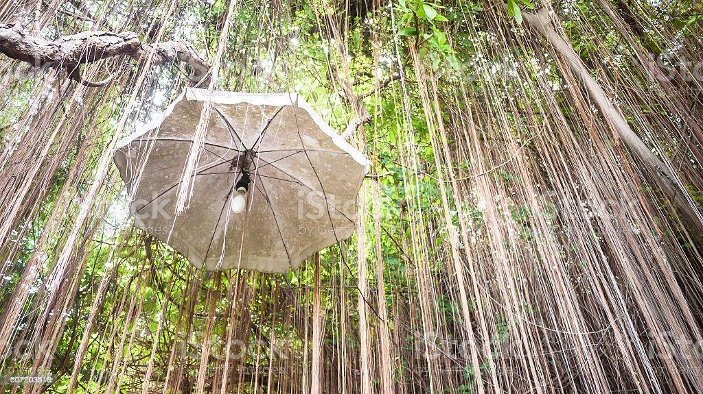 Lighting hanging with umbrella stock photo