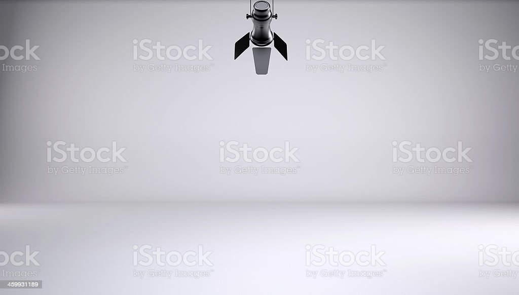 Lighting in an all white soundproof studio with a microphone stock photo