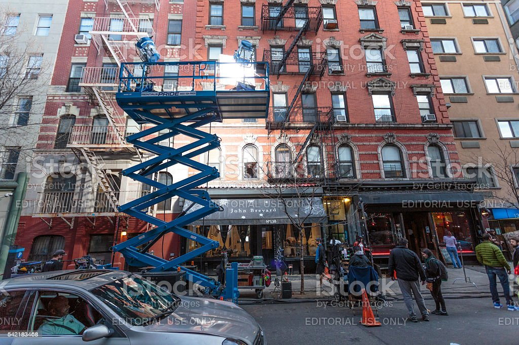 Lighting of filmset near Chinatown in New York City stock photo