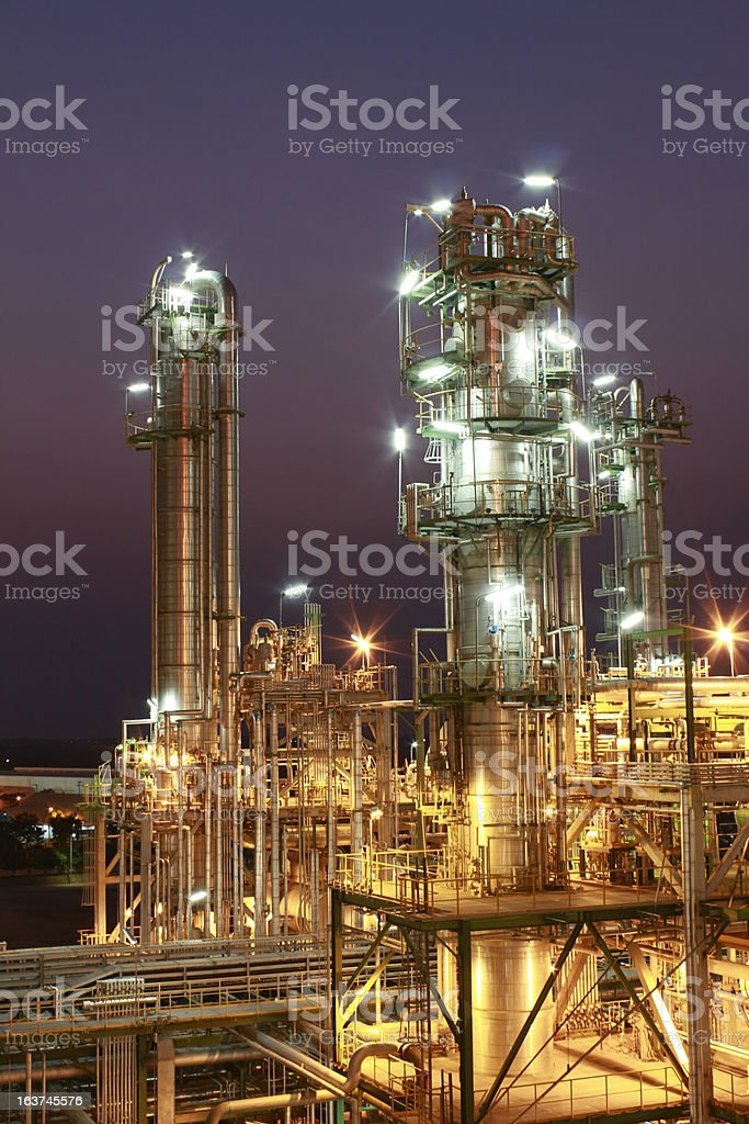 Lighting of Petrochemical factory in night Time royalty-free stock photo