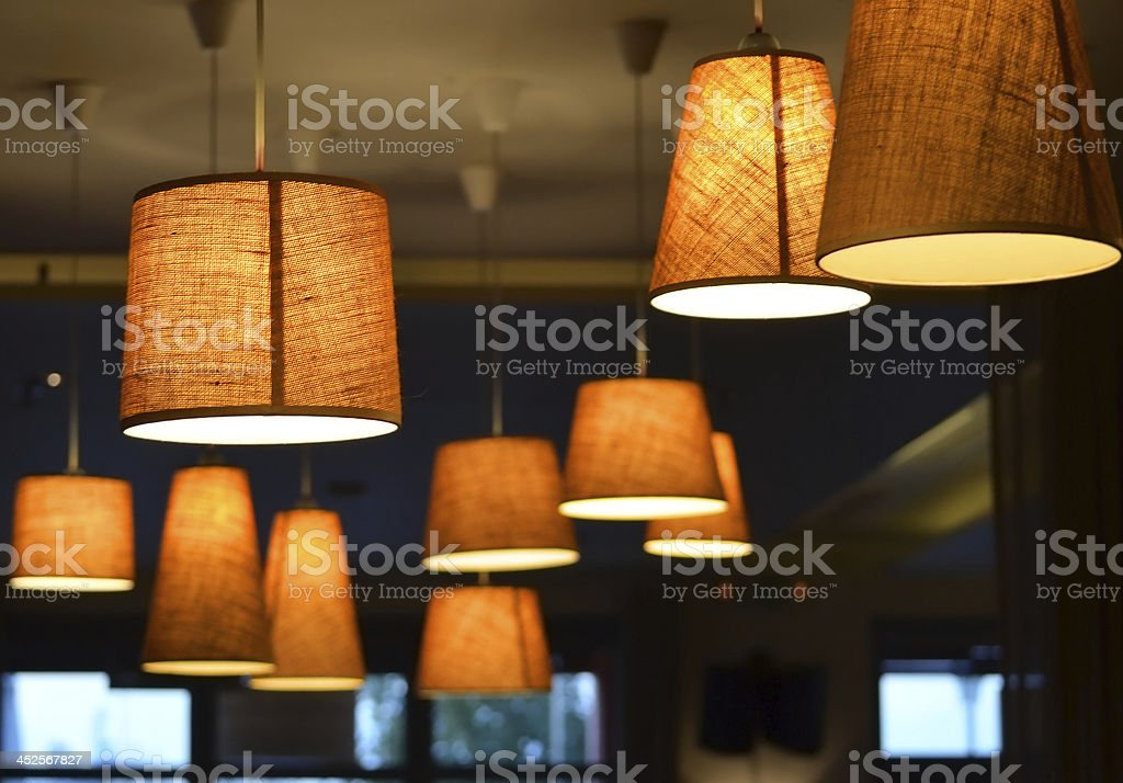 Lighting on ceiling in a coffee shop stock photo