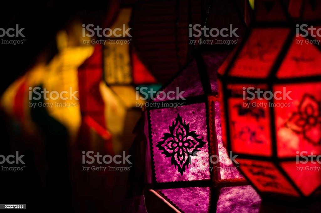 Lighting paper lanterns stock photo