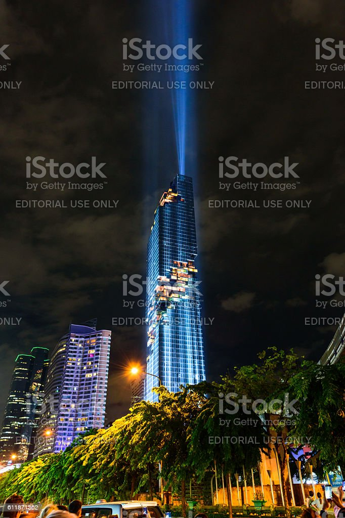 Lighting show in Grand opening mahanakhon tower in night time. stock photo