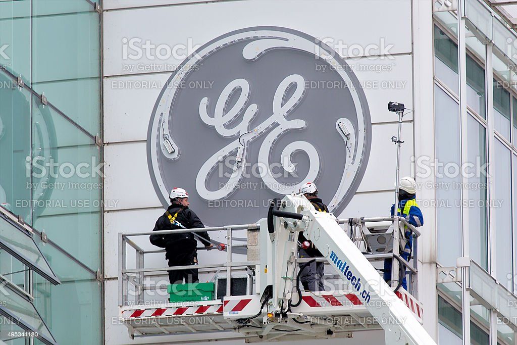 Lighting tests of new GE logo in Baden stock photo