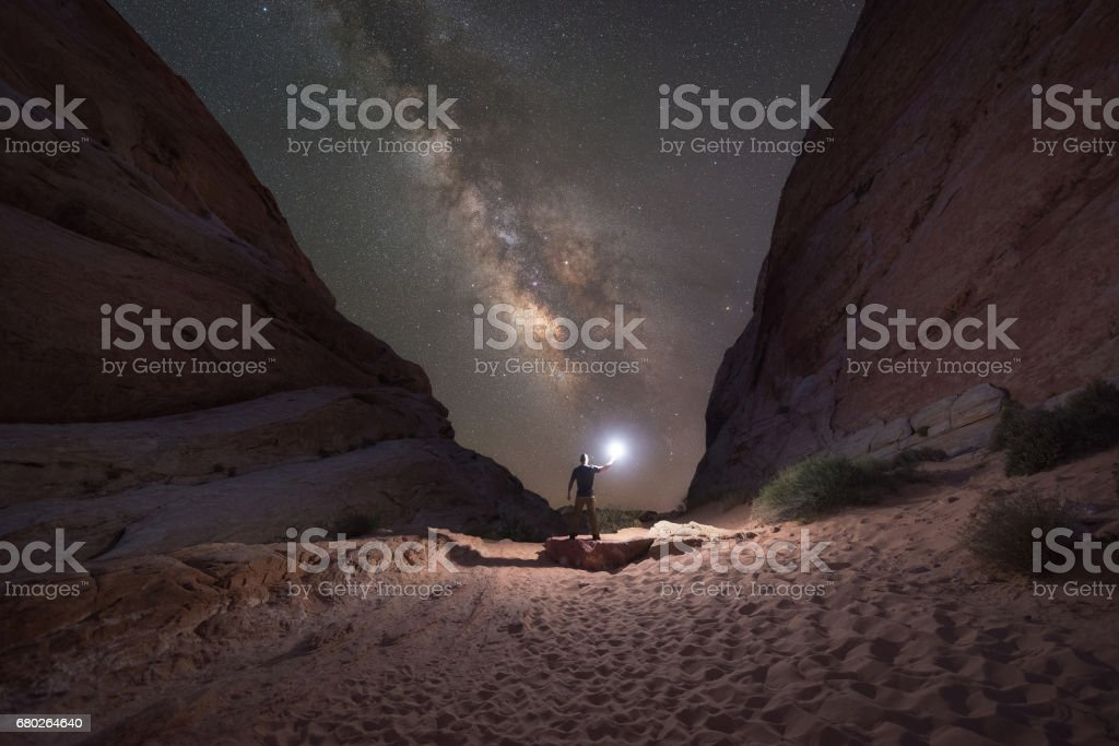 Lighting up White Domes Trail stock photo