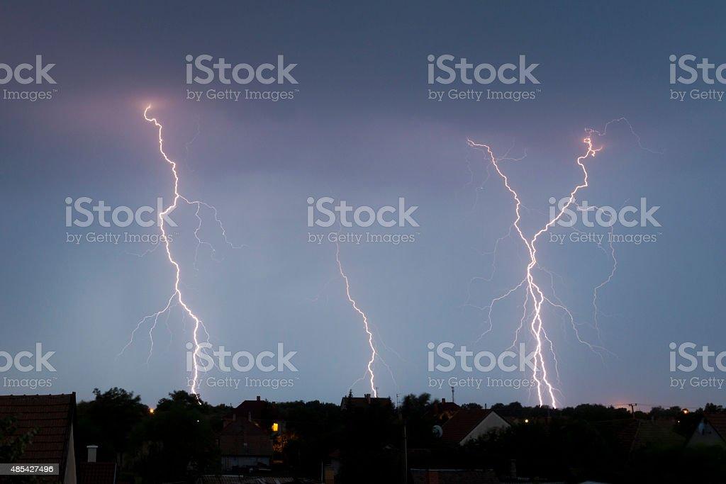Lightings during thunderstorm stock photo