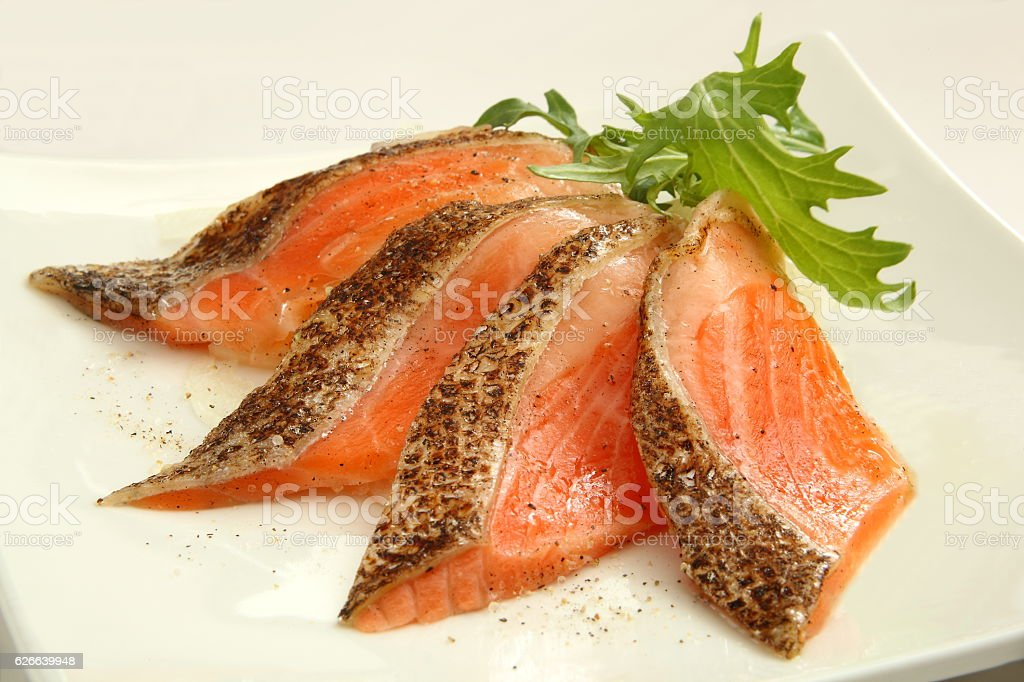 Lightly Broiled Salmon Sashimi stock photo