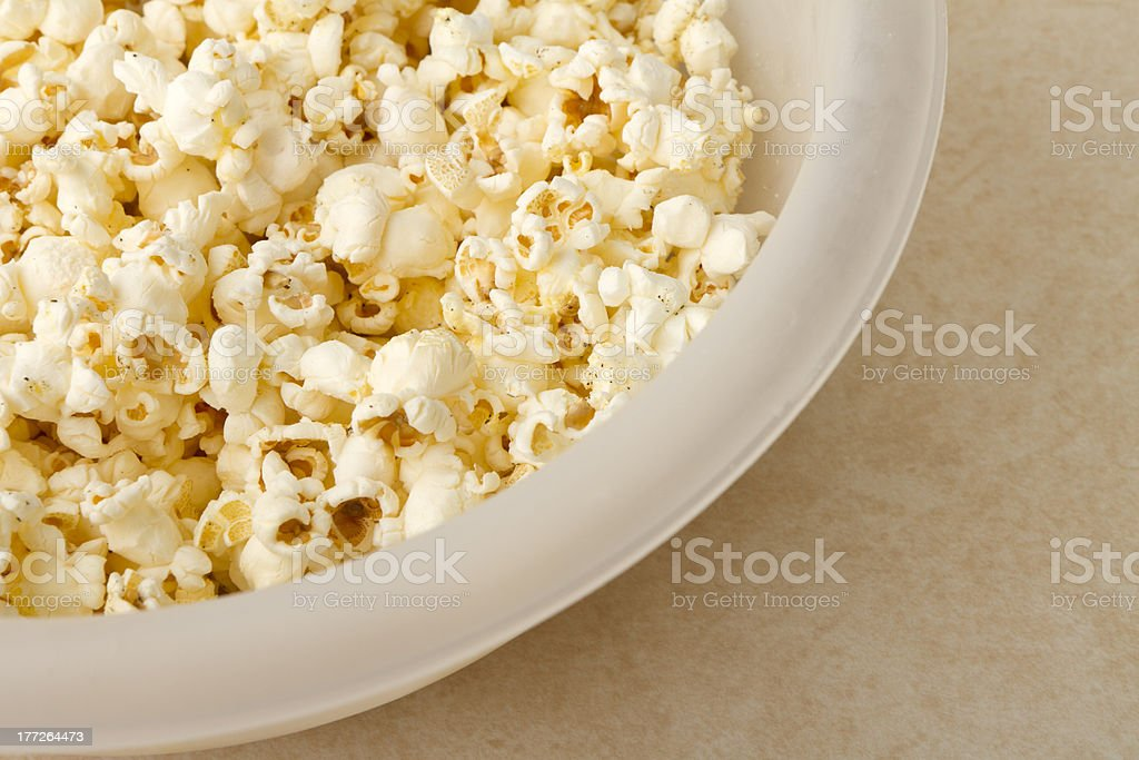 Lightly buttered popcorn stock photo
